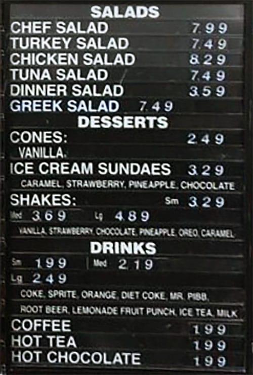 Crown Burgers menu - salads, desserts, drinks