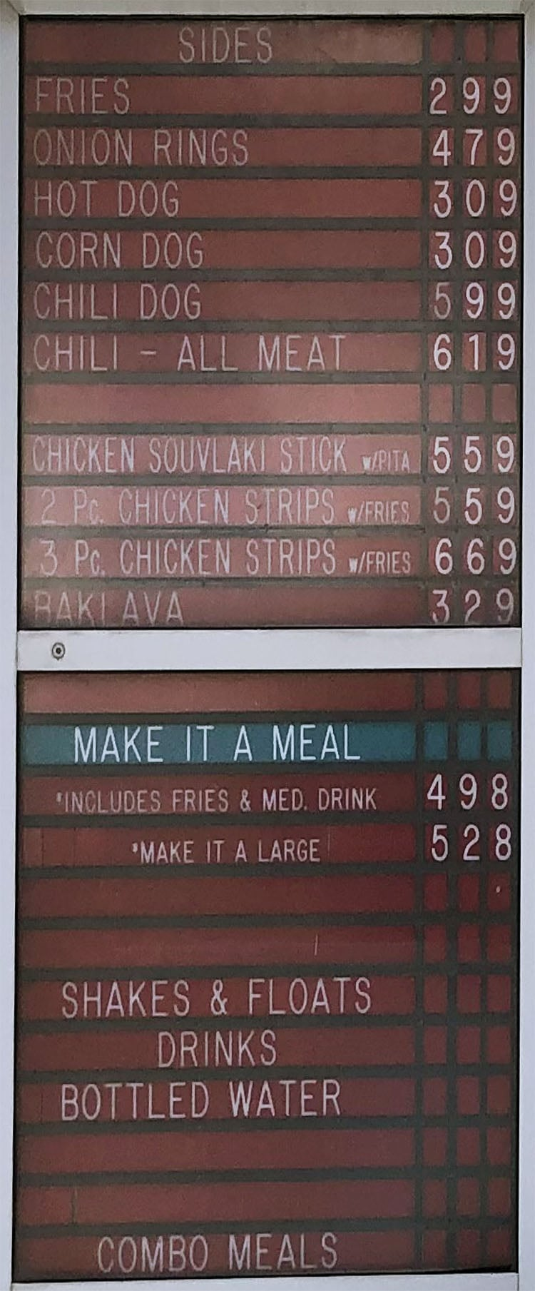 Crown Burgers menu - sides, meals
