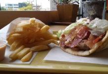Dasks Greek Grill - gyro with bacon. Credit, dasks