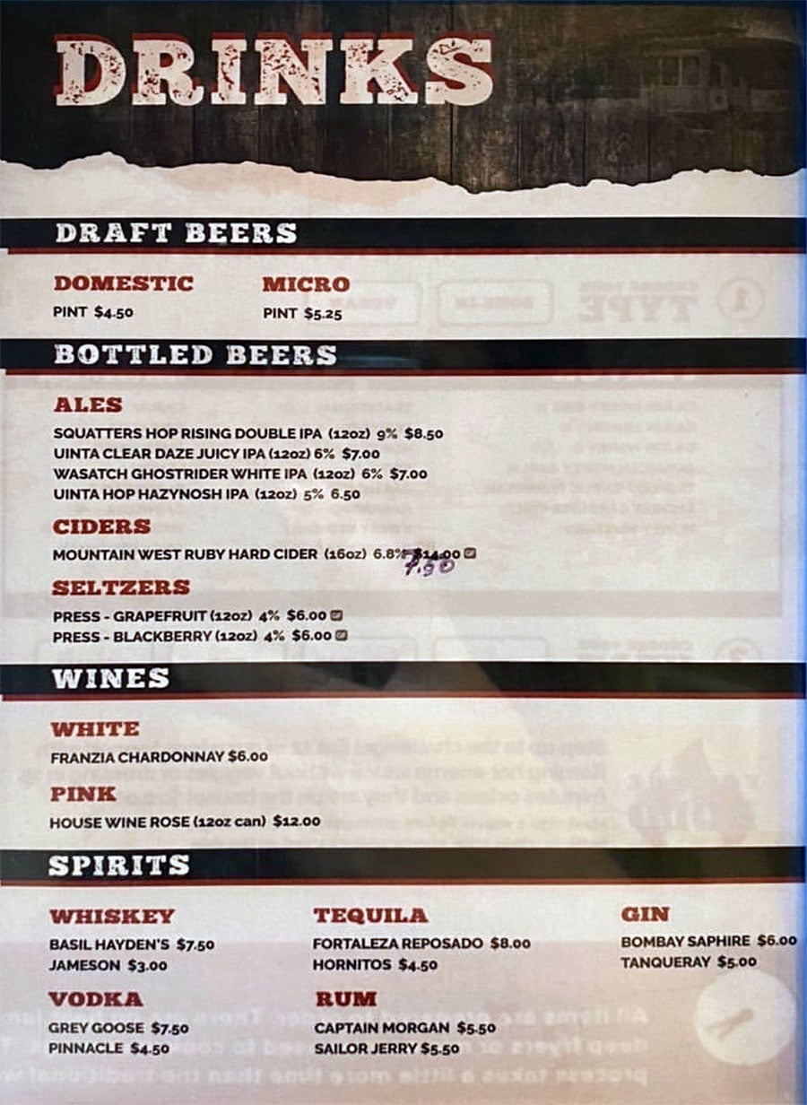 Trolley Wing Company menu - drinks