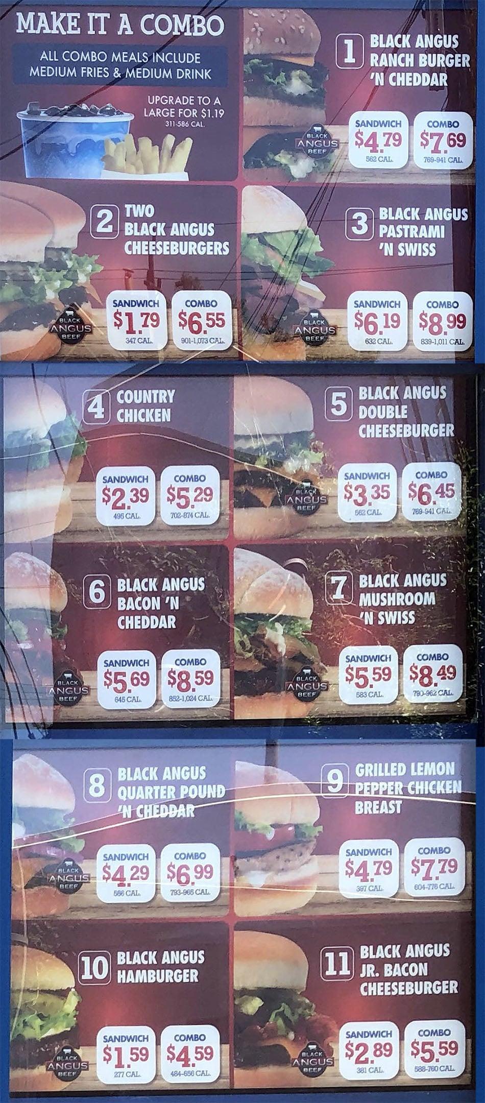 Arctic Circle menu - combos