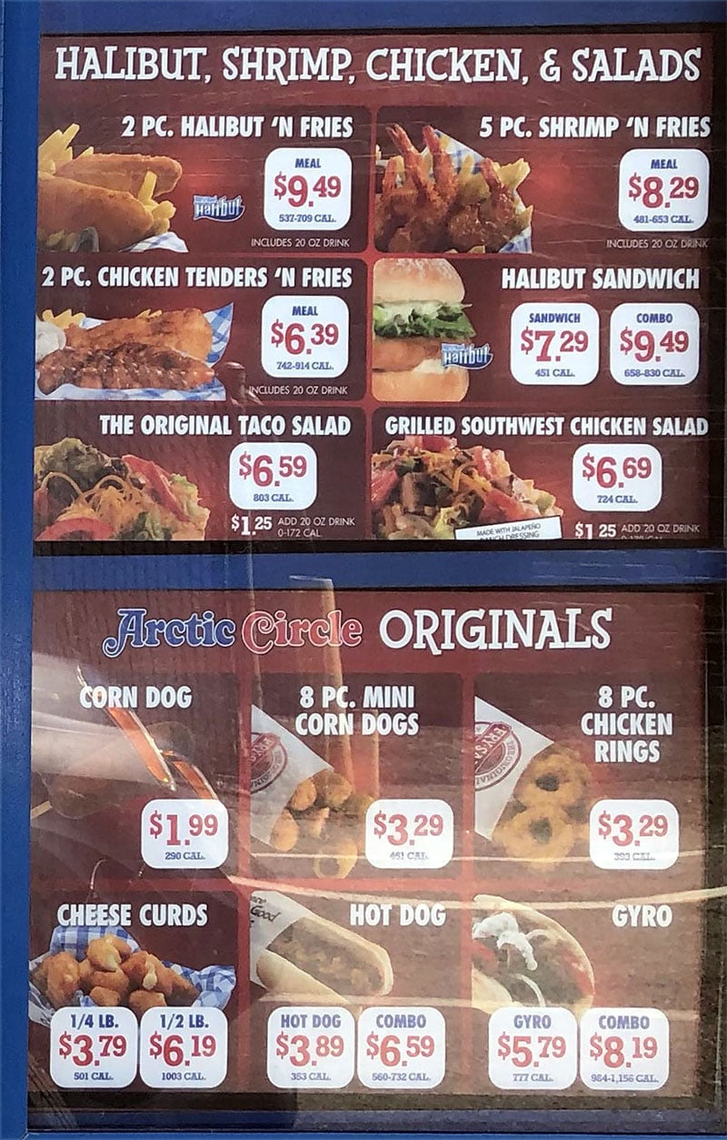 Arctic Circle menu - halibut, shrimp, chicken, salads, originals