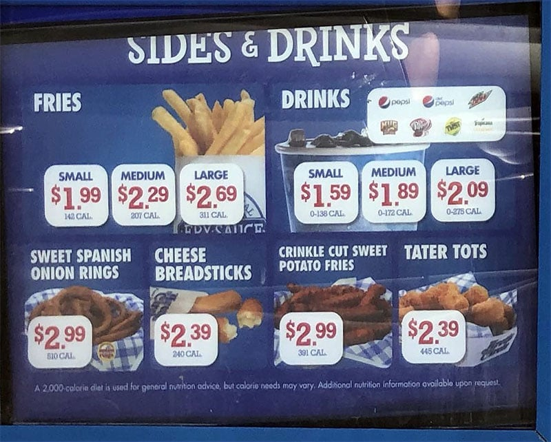 Arctic Circle menu - sides, drinks
