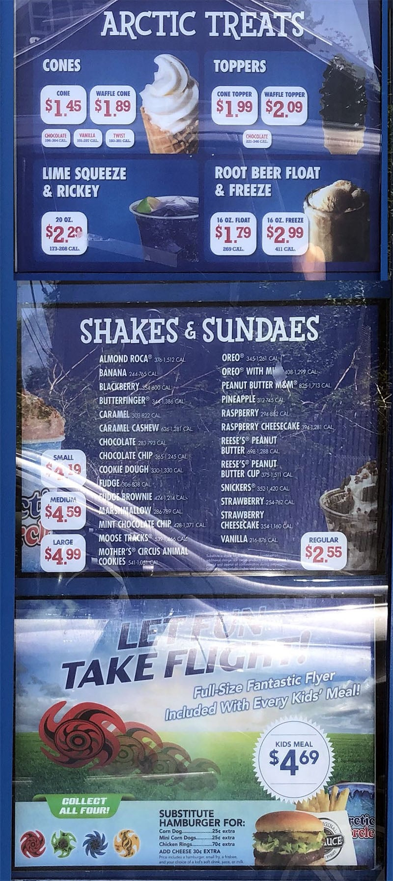Arctic Circle menu - treats, shakes, sundaes