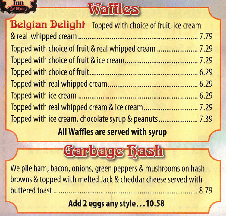 Belgian Waffle And Omelet Inn menu - waffles, garbage hash