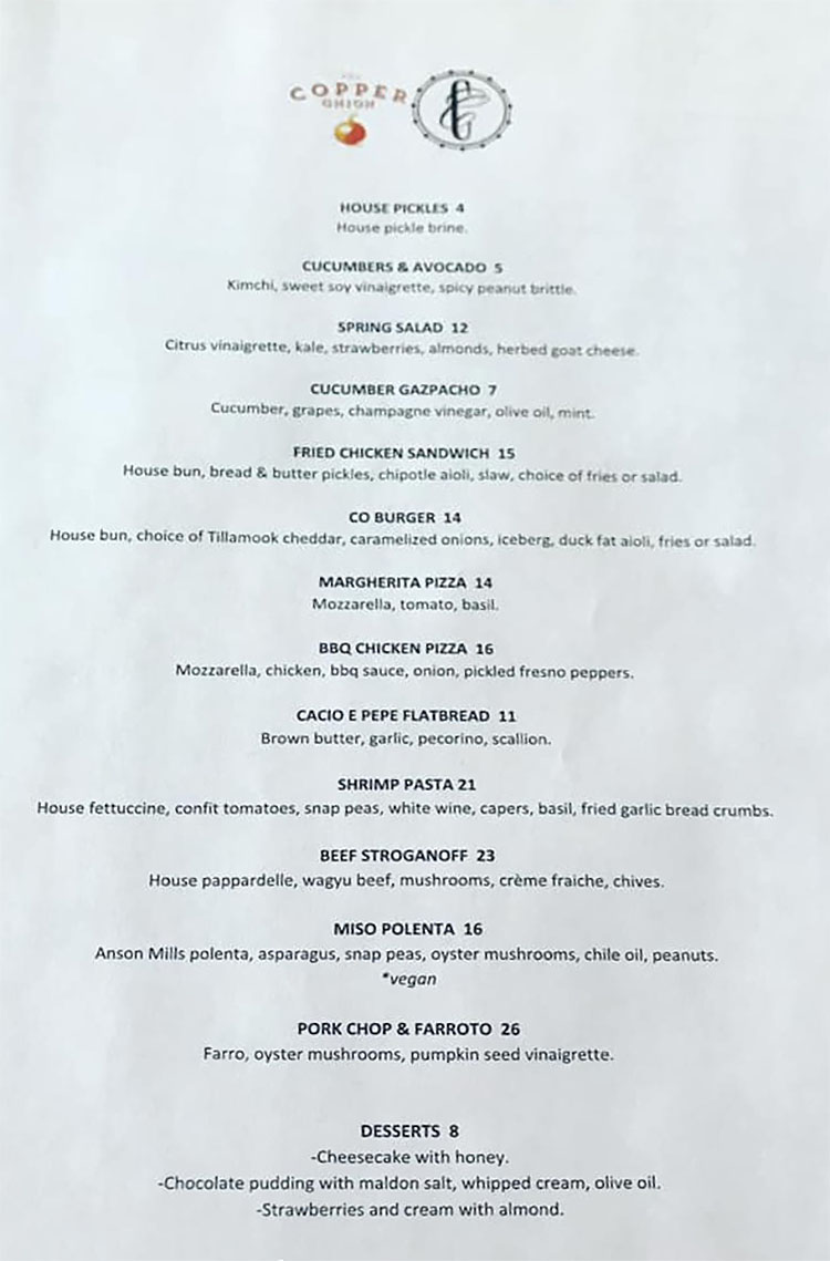 Copper Onion - curbside menu