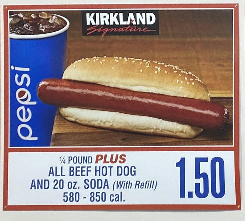Costco food court menu - all beef hot dog