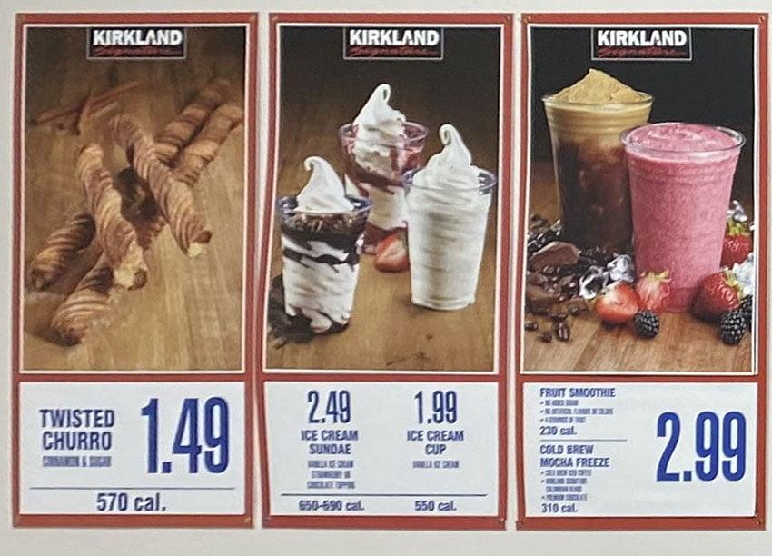 Costco food court menu - churros, sundae ,smoothie