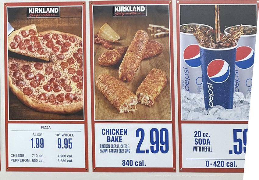 Costco food court menu - pizza, chicken bake, drink