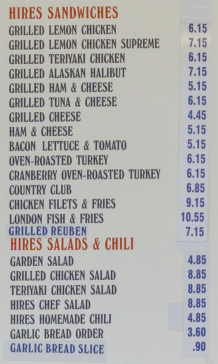 Hires Big H menu - sandwiches, salads, chilli