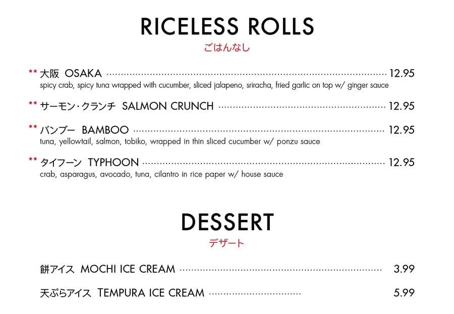 Itto Sushi menu - riceless rolls, dessert