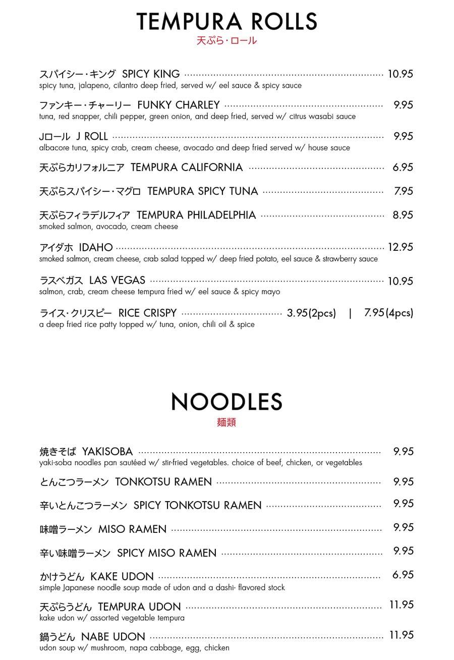 Itto Sushi menu - tempura rolls, nood.es