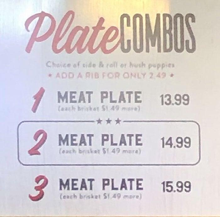 R&R BBQ menu - plate combos