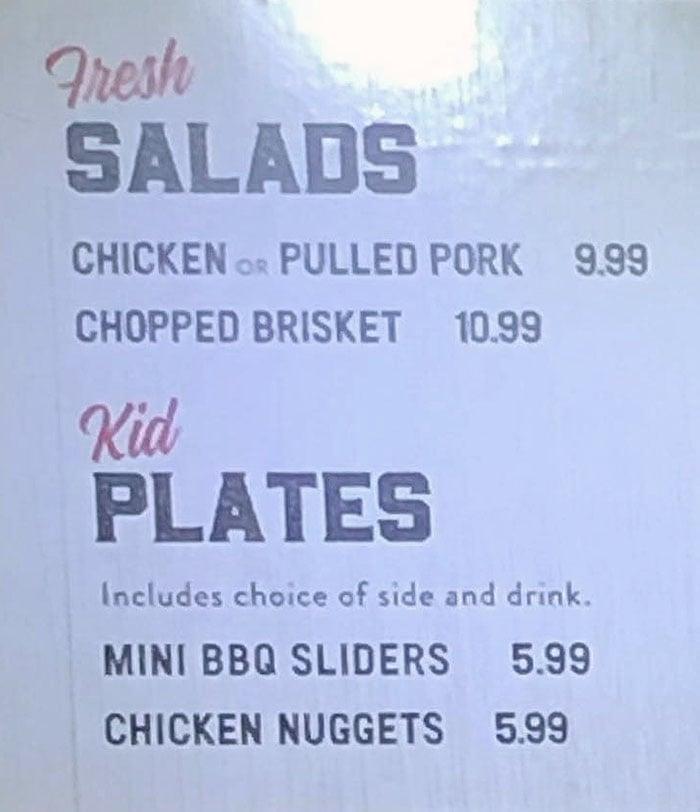 R&R BBQ menu - salads, kids plates