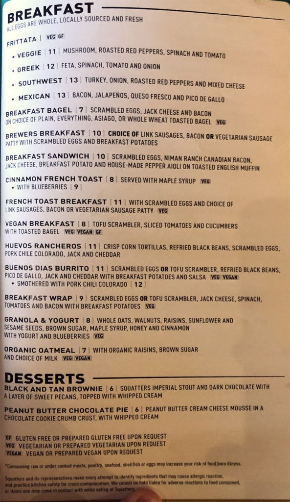 Squatters airport menu - breakfast