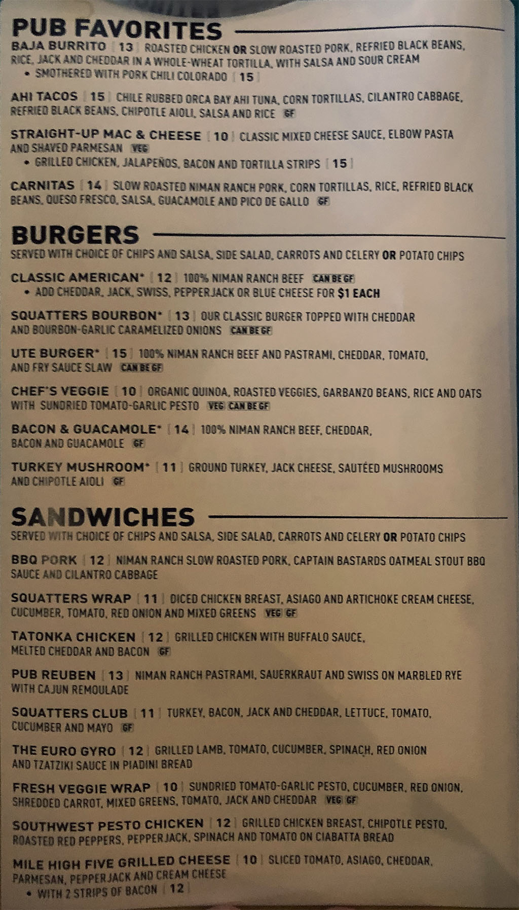 Squatters airport menu - pub favorites, burgers, sandwiches