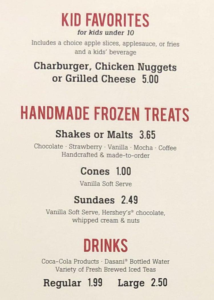The Habit Burger Grill menu - kids, frozen treats, drinks
