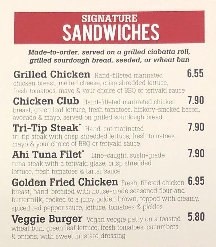 The Habit Burger Grill menu - signature sandwiches