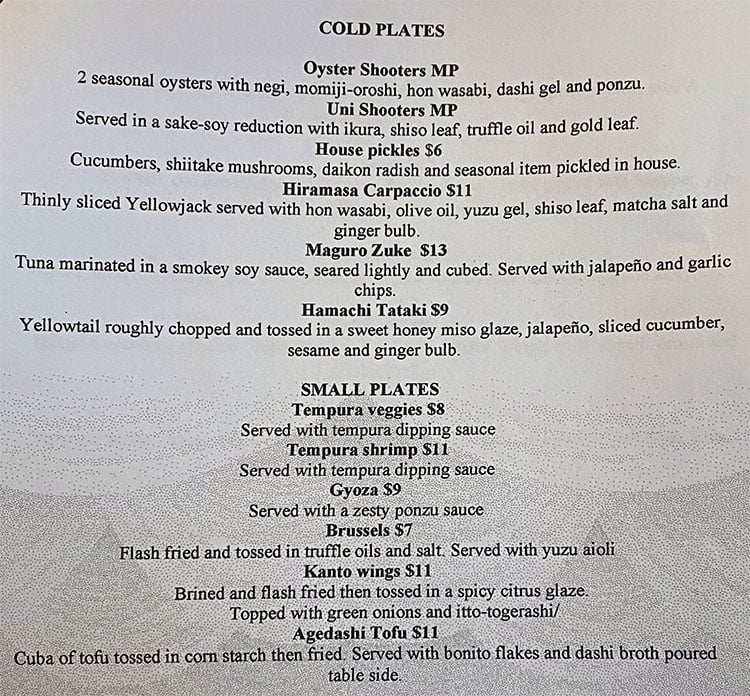 Blue Marlin menu - cold plates, small plates