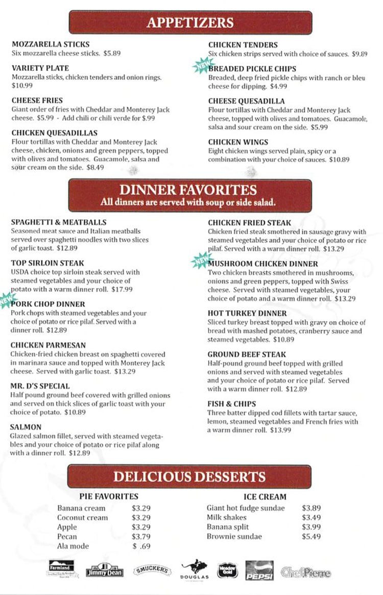 Dee's Family Restaurant menu - appetizers, dinner favorites, desserts