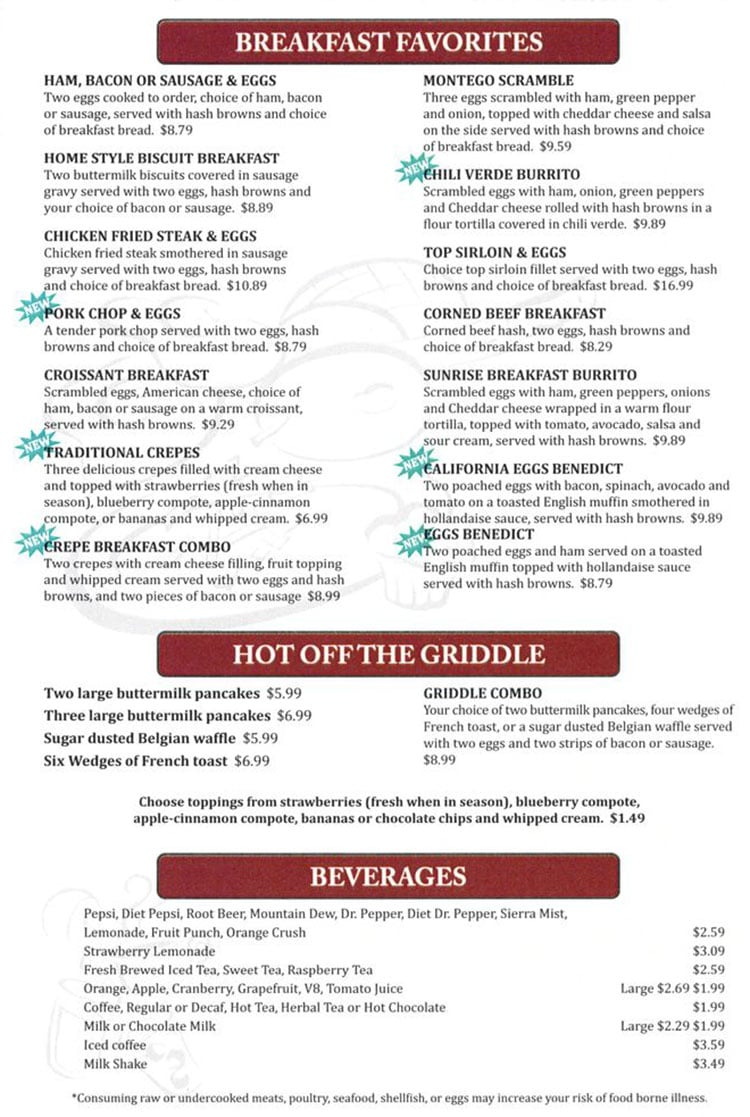 Dee's Family Restaurant menu - breakfast favorites, hot off the griddle