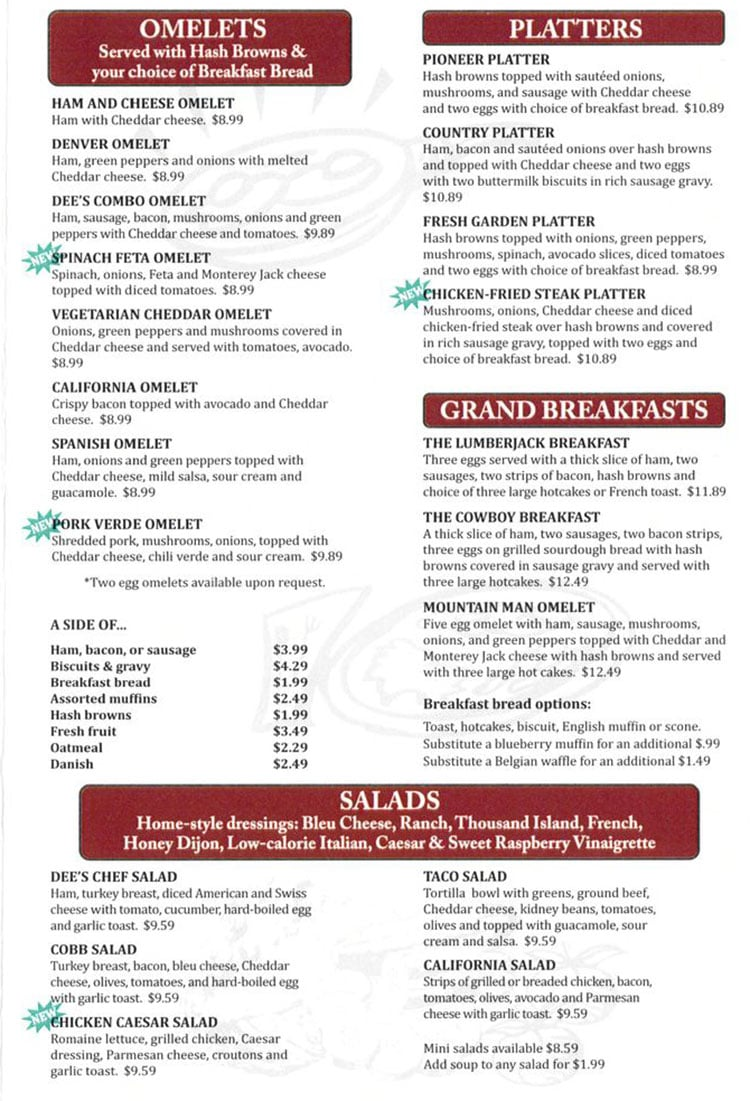 Dee's Family Restaurant menu - omelets, platters, grand breakfasts, salads