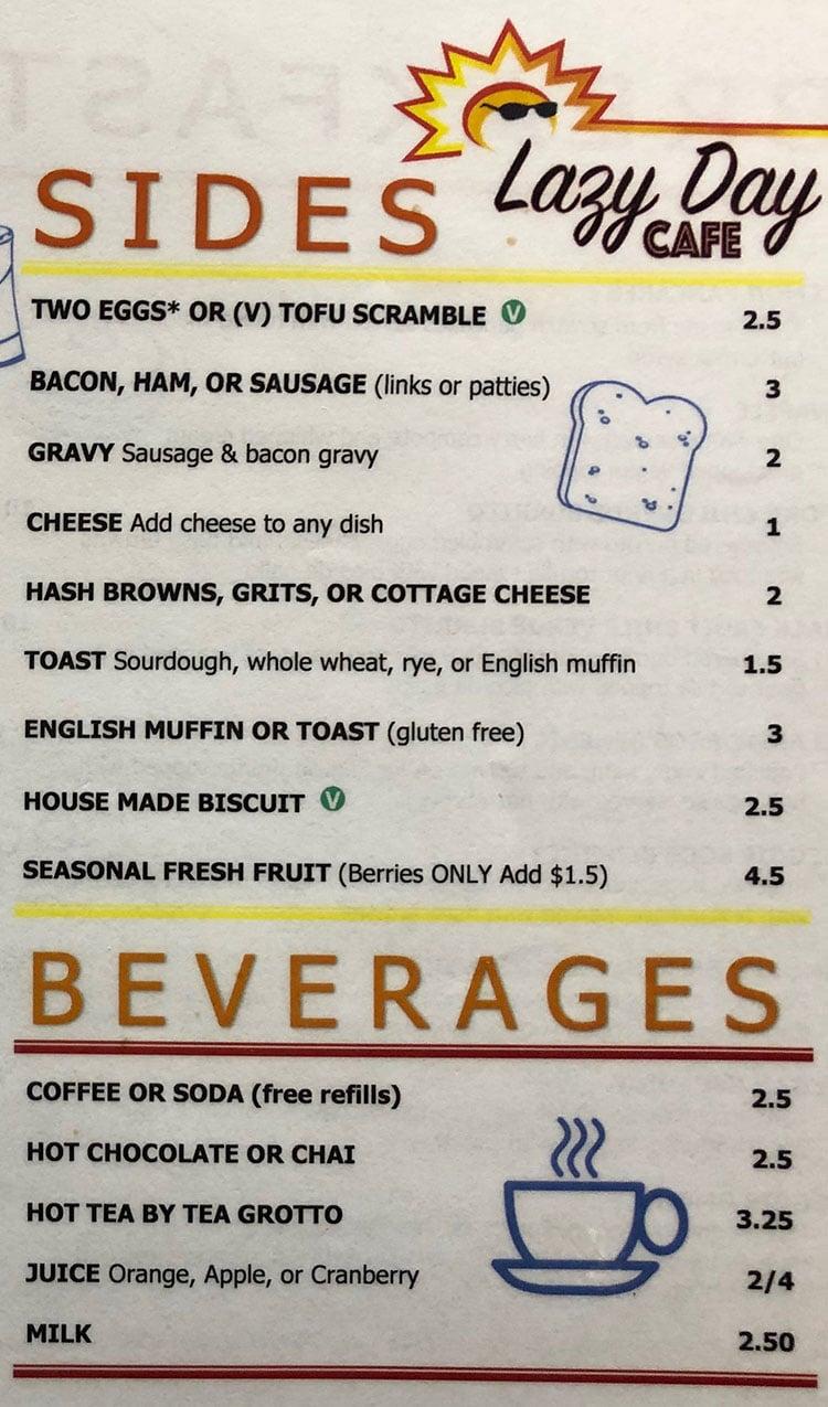 Lazy Day Cafe menu - sides, beverages