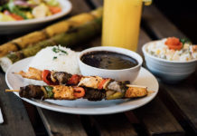 Lucys Brazilian Kitchen - skewers, rice, beans. Credit, Lucys