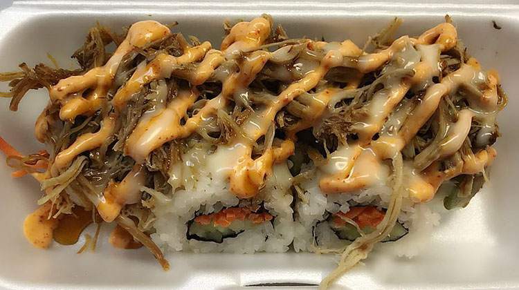 Sushi Be Rollin food truck - pulled pork roll, credit food truck