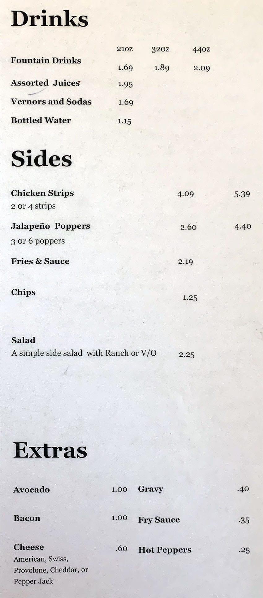 Grinders 13 menu - drinks, sides, extras