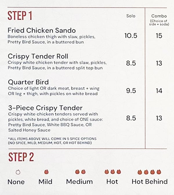 Pretty Bird menu - fried chicken options