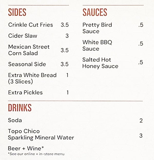 Pretty Bird menu - sides, sauces, drinks
