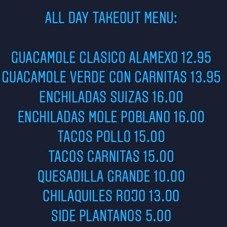 Alamexo curbside pickup menu