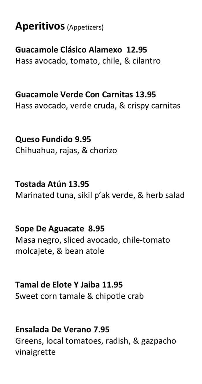 Alamexo dinner menu - appetizers