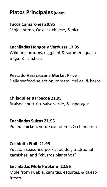Alamexo dinner menu - entrees