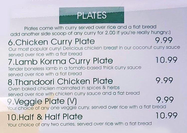 Curry Fried Chicken menu - plates
