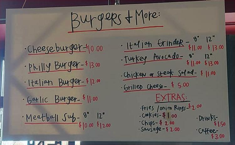 Fat Boy Phillies menu - burgers, more