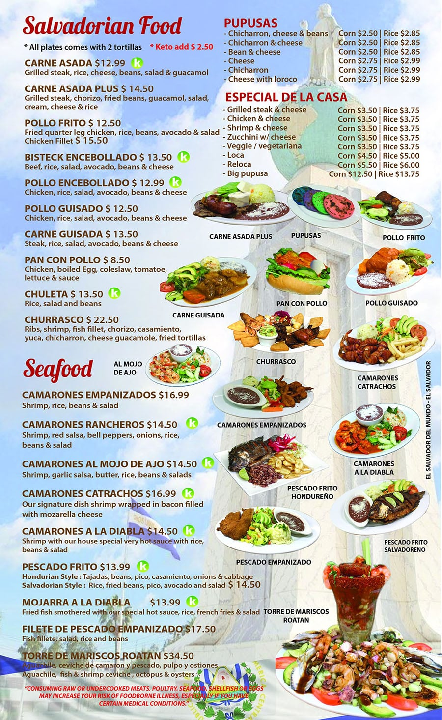 Catrachos Restaurant menu - Salvadorian food, searfood