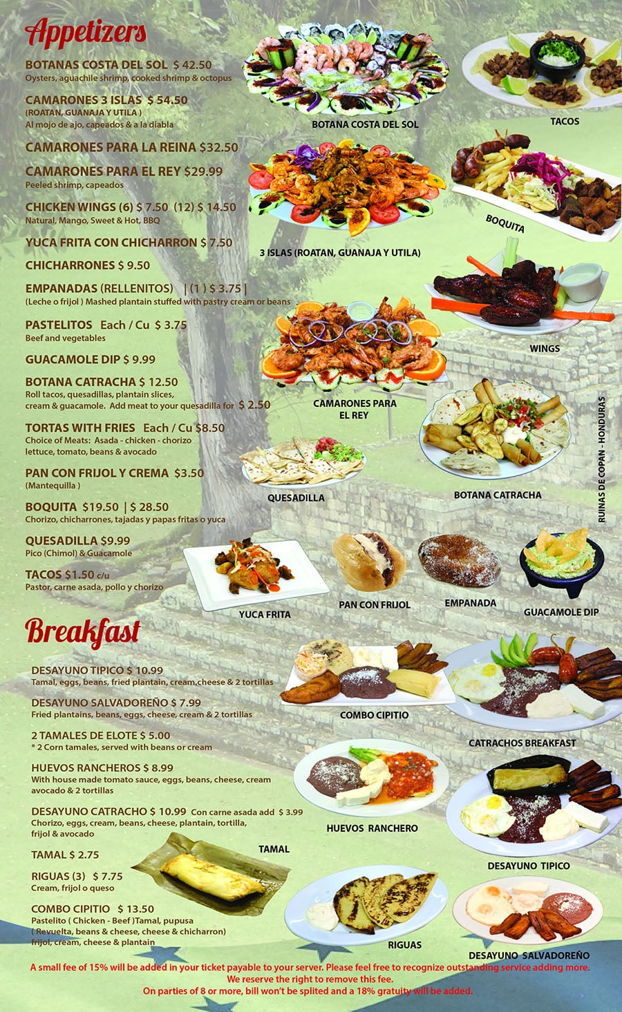 Catrachos Restaurant menu - appetizers, breakfast