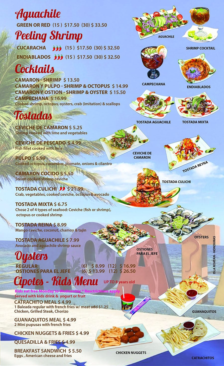 Catrachos Restaurant menu - other seafood and more
