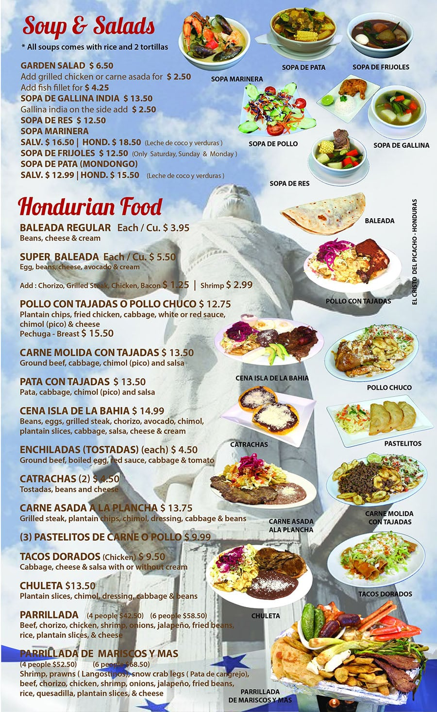 Catrachos Restaurant menu - soups, salds, Hondurian food