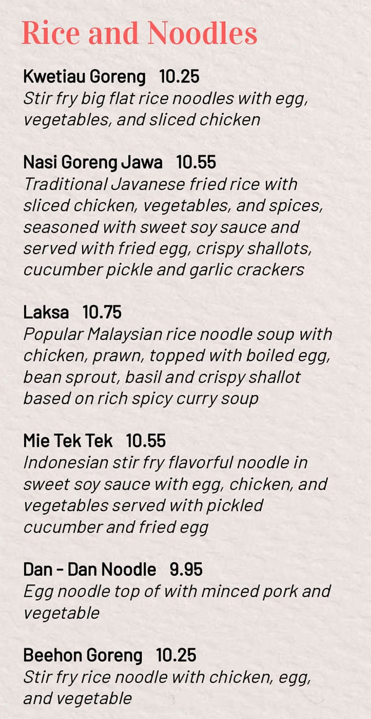 MakanMakan menu - rice and noodles