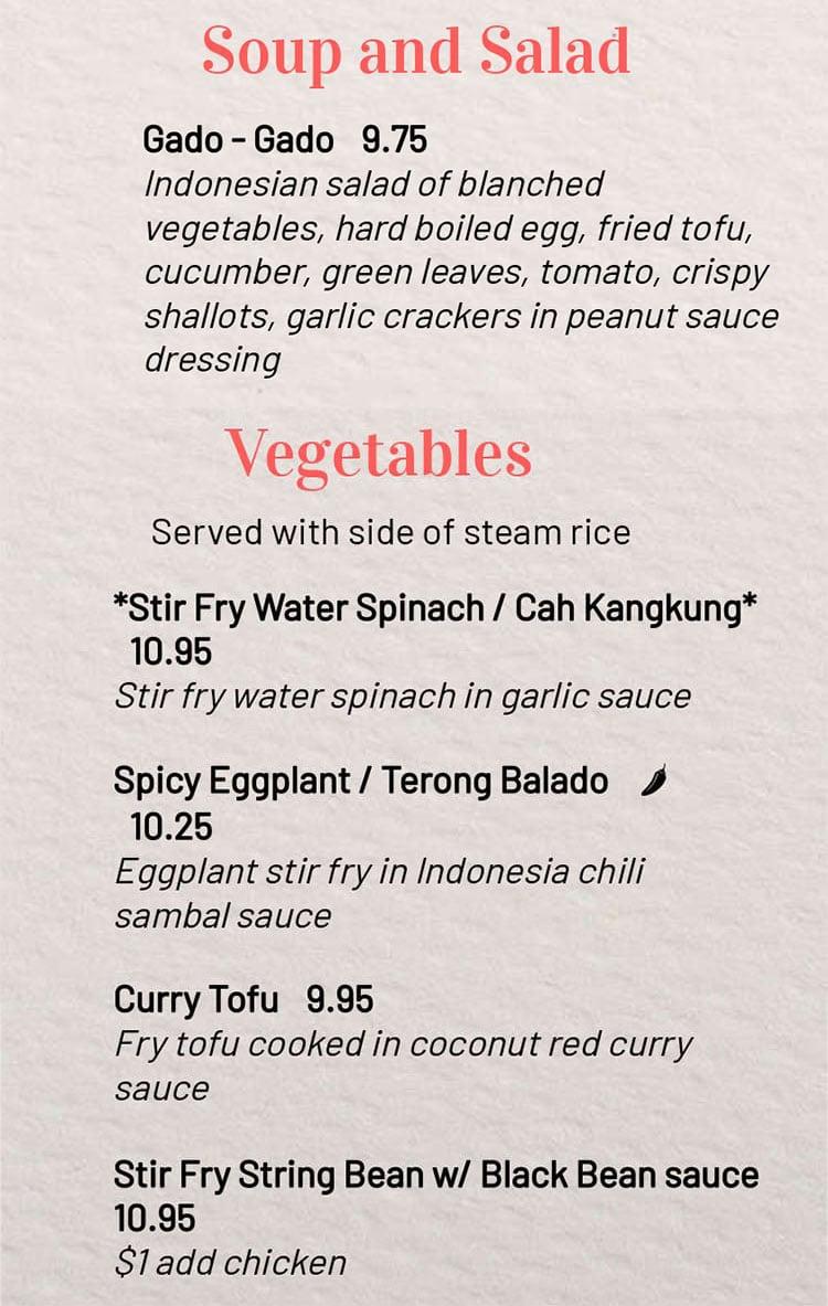MakanMakan menu - soup salad, vegetables