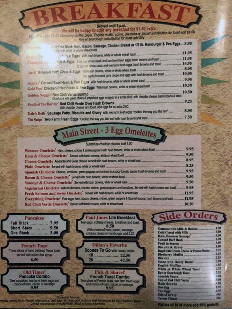 Midvale Mining Cafe menu - breakfast