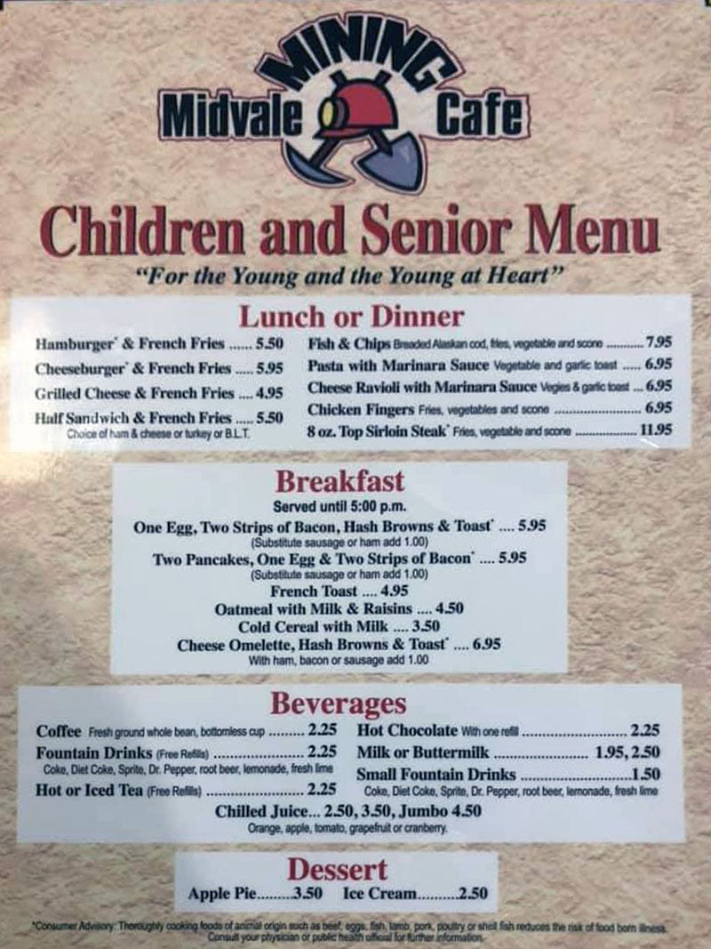 Midvale Mining Cafe menu - children and seniors