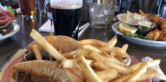 Fiddler's Elbow - sandwich, fries, guiness