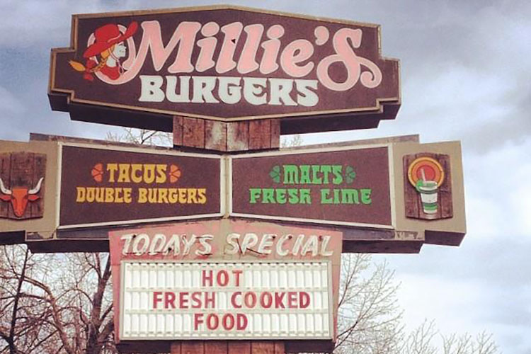 Millie's Burgers menu