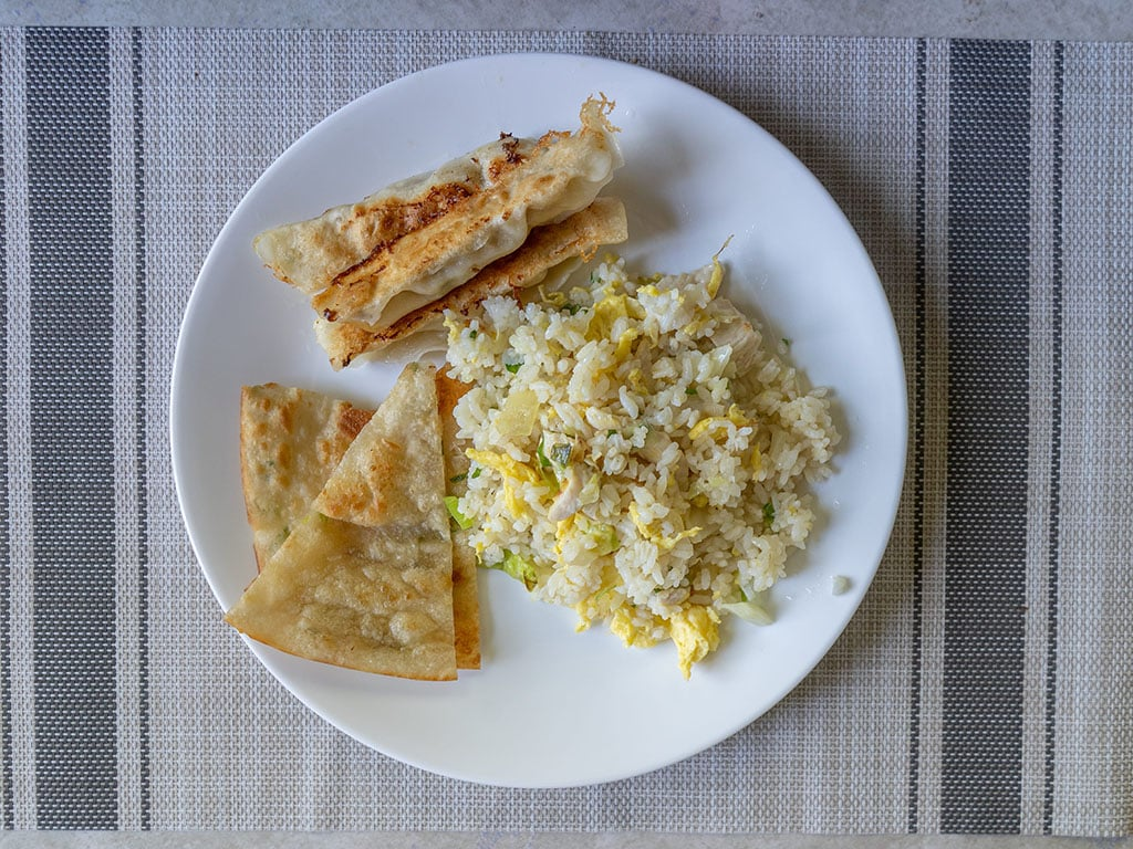 Moms Kitchen - fried rice with green onion pancake and pork dumplings