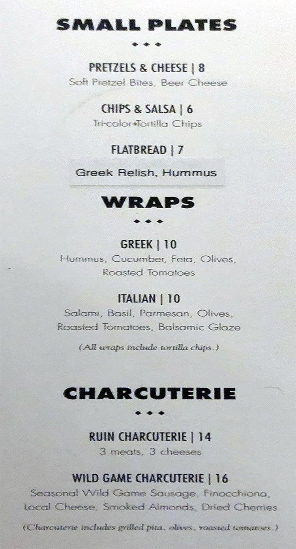 The RUIN menu - food