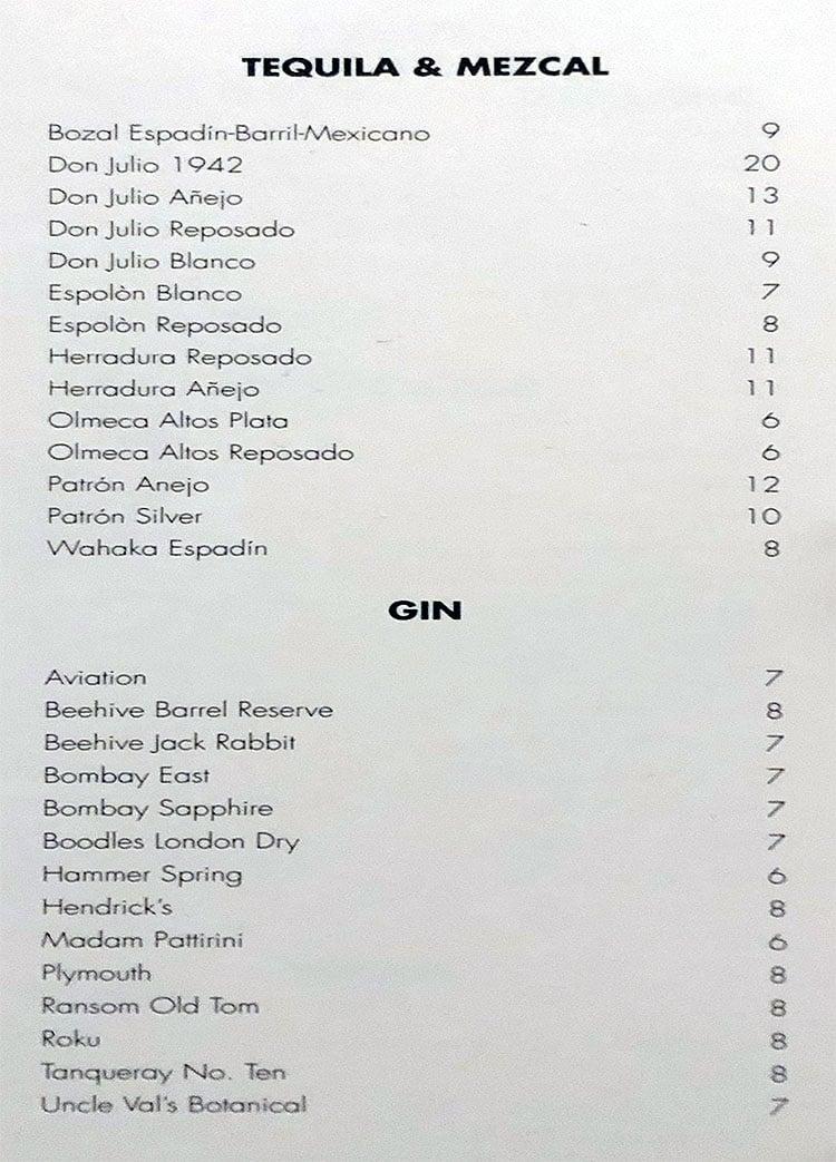 The RUIN menu - tequila, mezcal, gin